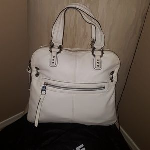 White Leather Dome Satchel